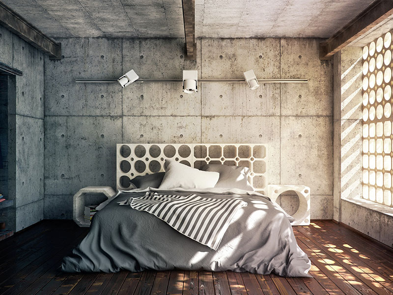 concrete wall for the room.