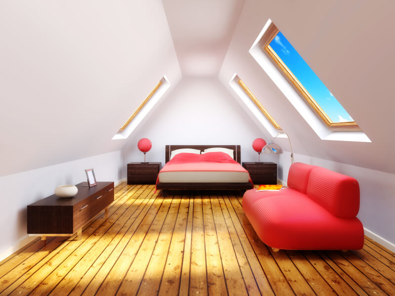 use red color for the attic bedroom.