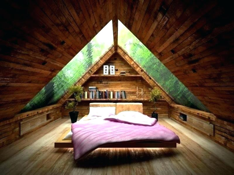 the attic bedroom made by wood.