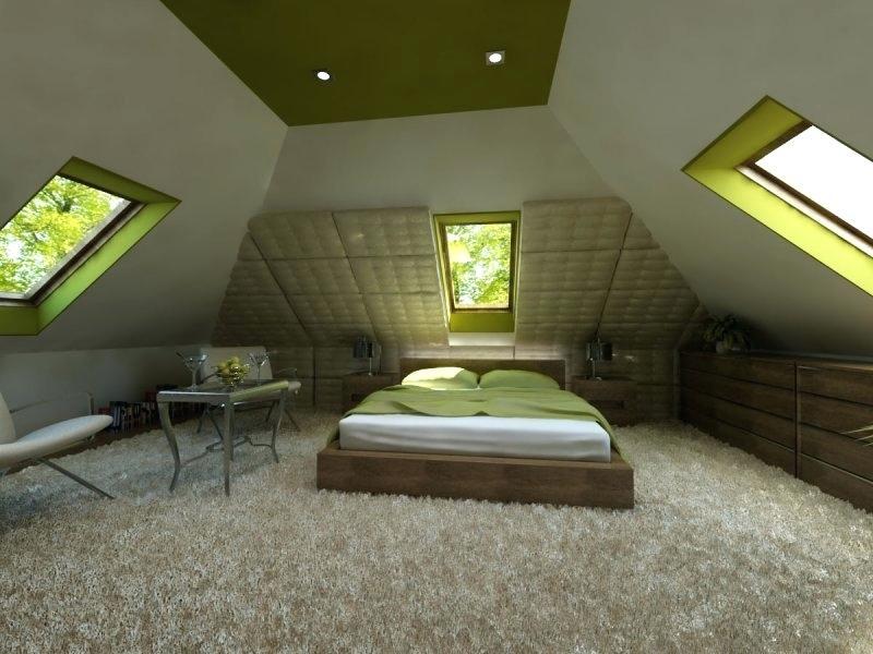 large attic bedroom.