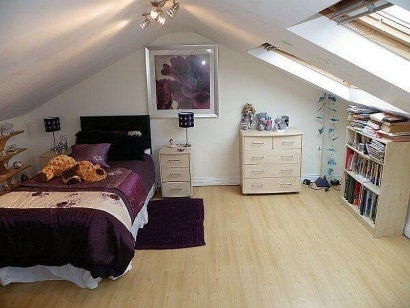 great design of attic bedroom.