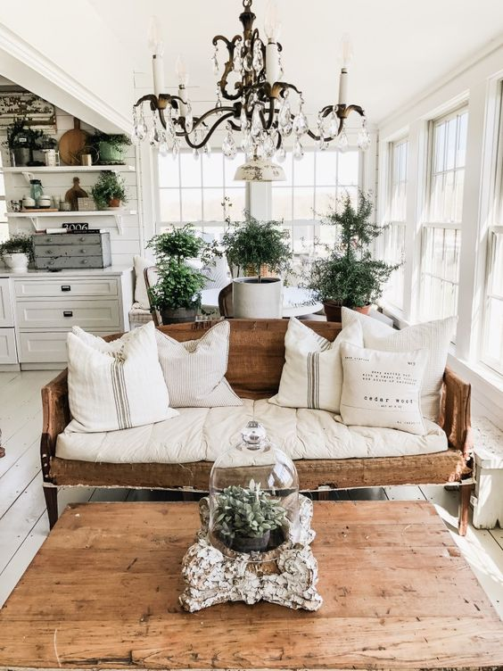 Using plants in decorating the living room.