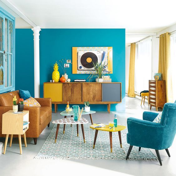 blue color for retro living room design.