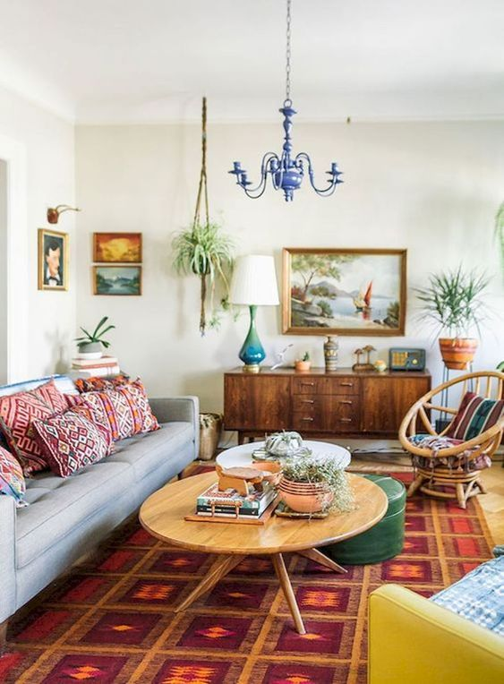 using retro-style rug for the living room.