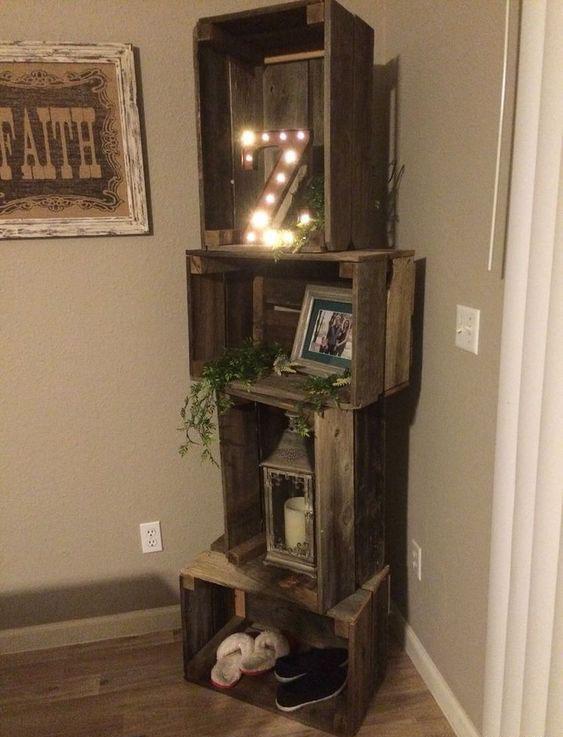 shelf made of rough wood.