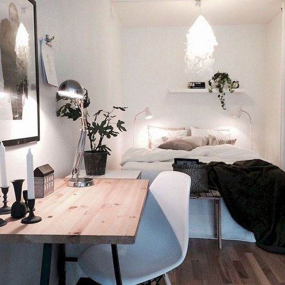 add small plant to make the Scandinavian bedroom sweeter.