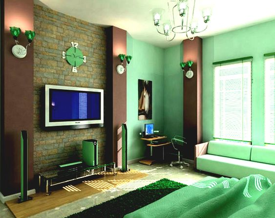 Combination of emerald and brown will make the room sweeter.