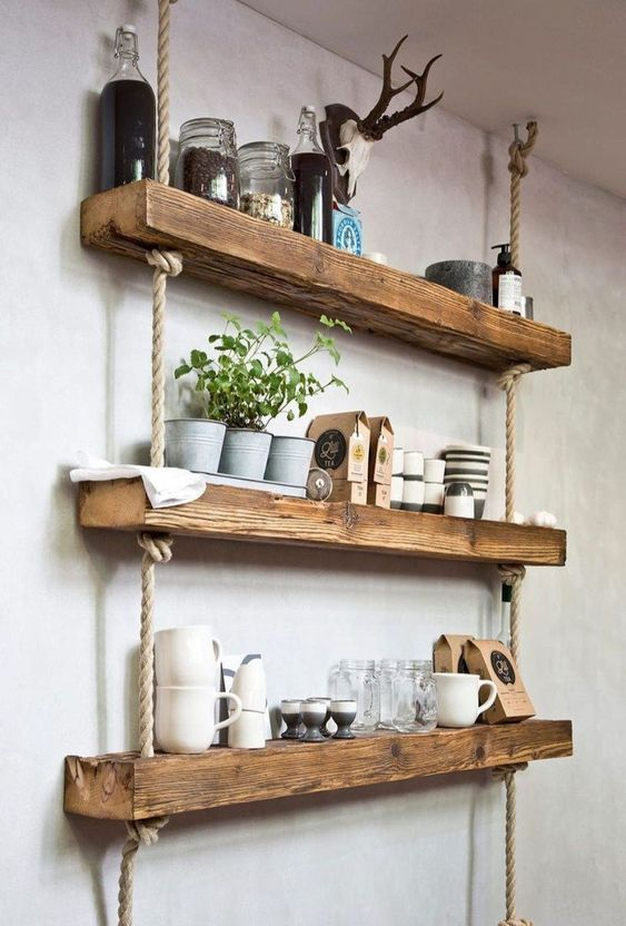 make hanging shelf from wooden ornaments.