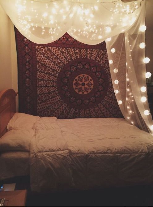 fill the empty wall with tapestry.
