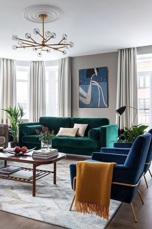 contemporary living room with two colors sofa