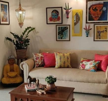 indian living room with bright color