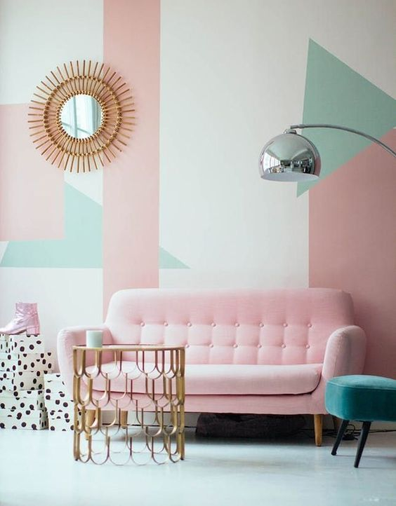pastel color living room decor
