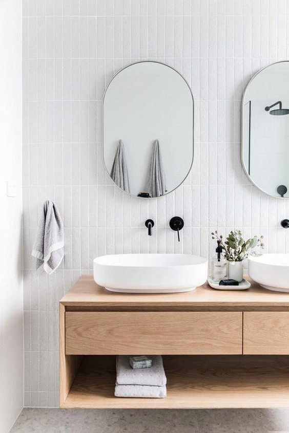 scandinavian bathroom floating wood