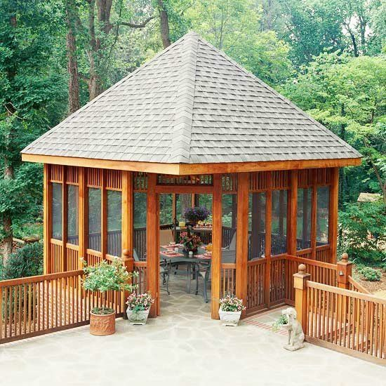wooden gazebo garden on hills