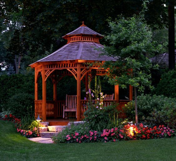 wooden gazebo with flowers