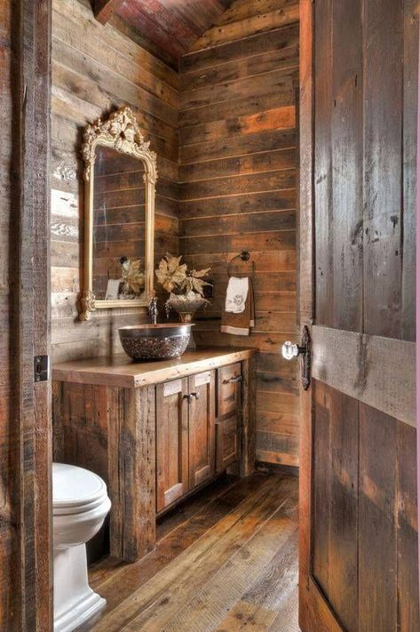 applying rustic bathroom