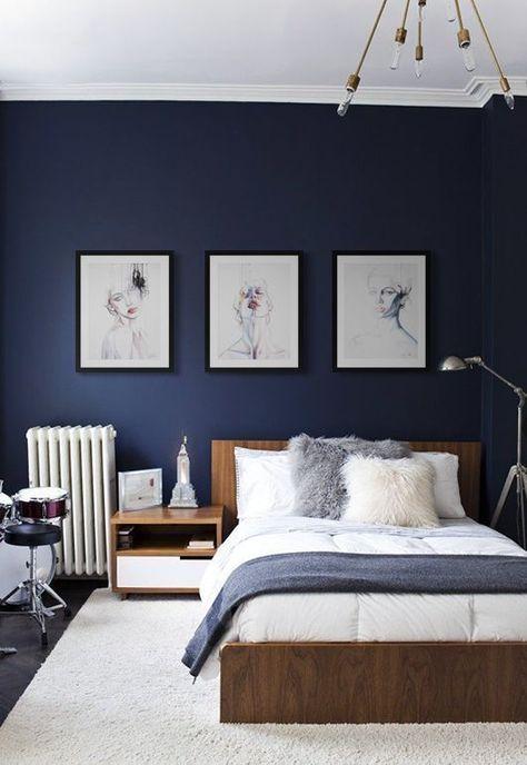 classic blue bedroom