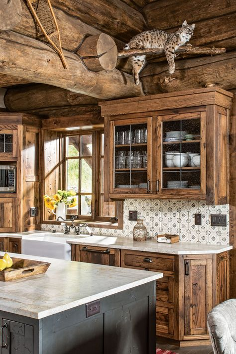 log rustic kitchen