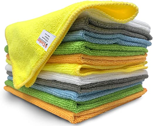 cleaning windows with microfiber cloths