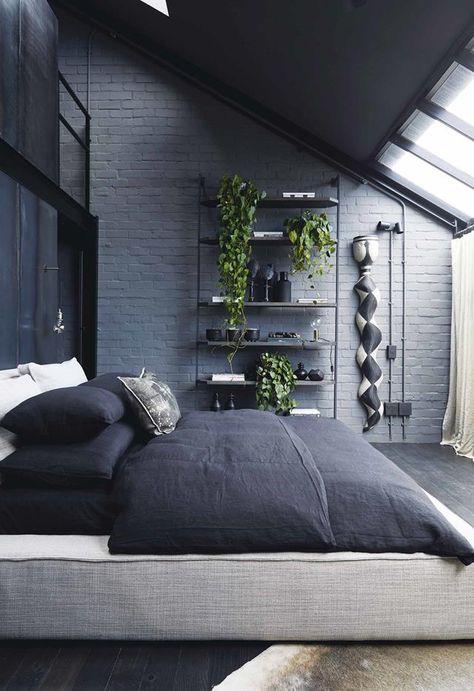 monochrome industrial bedroom