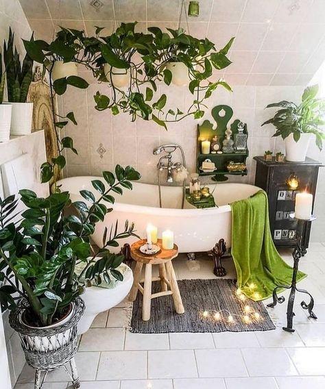 natural bohemian bathroom