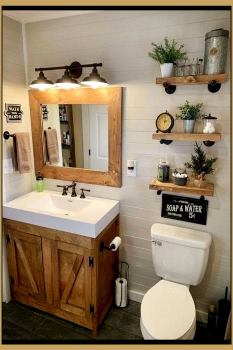 rustic bathroom with decoration