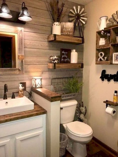 rustic small bathroom