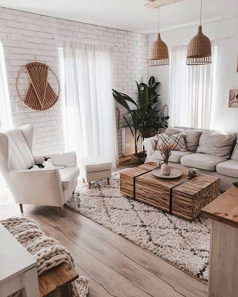 scandinavian living room with brick wall texture