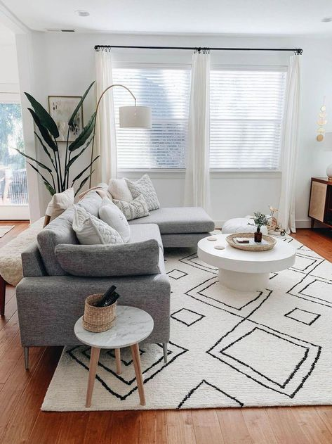 scandinavian living room with rugs