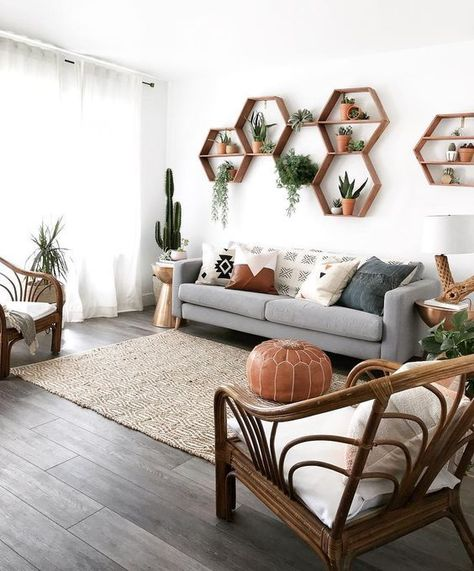scandinavian living room with wall decoration