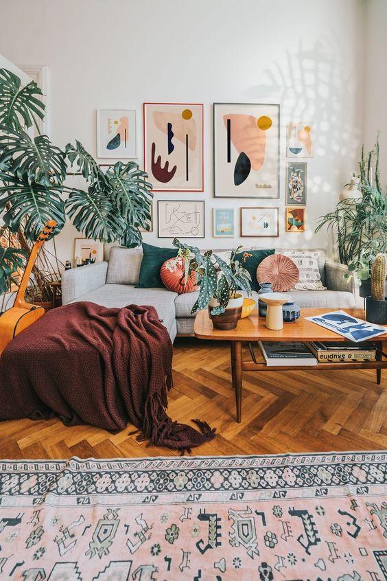 abstract bohemian living room