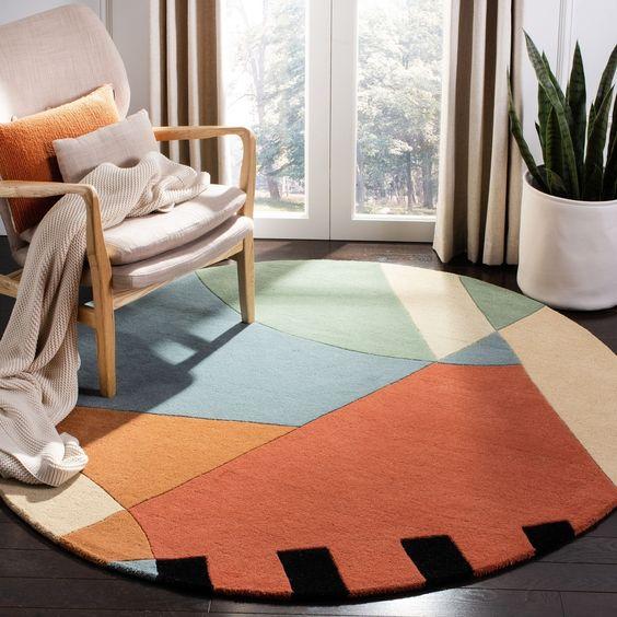 circle mid century carpet