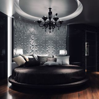 glam bedroom with textured wall