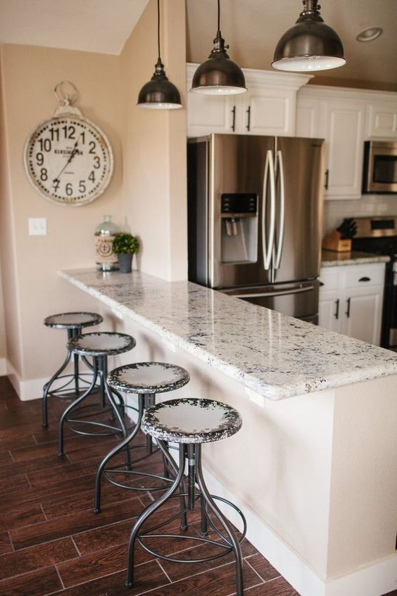 granit white kitchen table bar