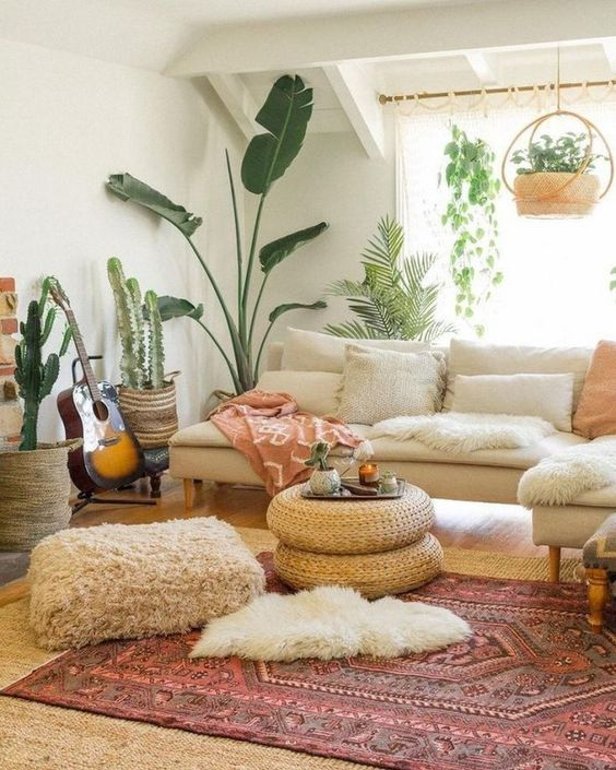 natural bohemian living room