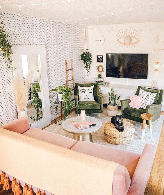 pink bohemian living room
