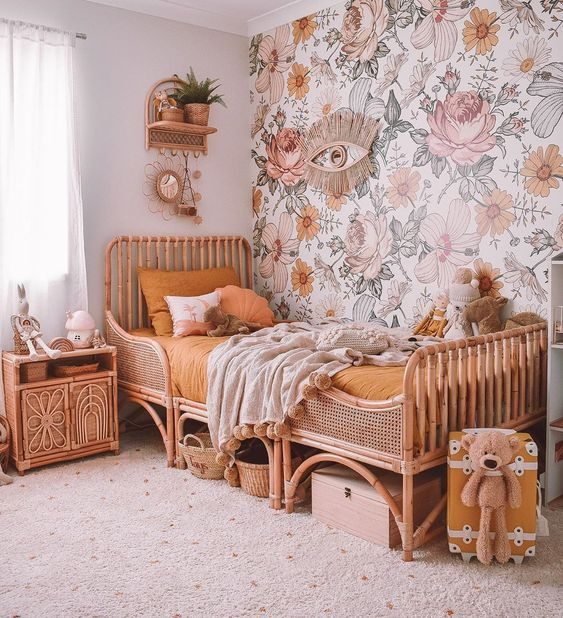 flowery bedroom