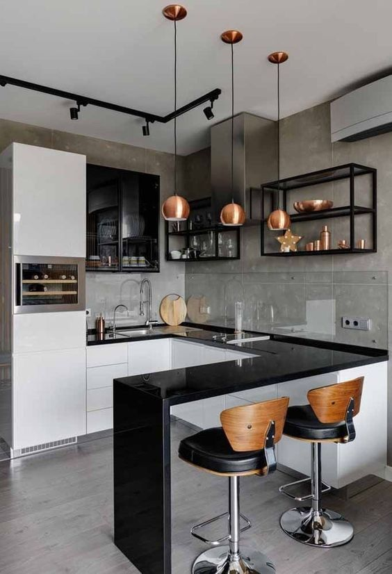 An Elegant Kitchen with Mini Bar Concept