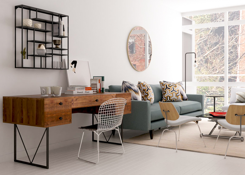 Living Room with with Workspace