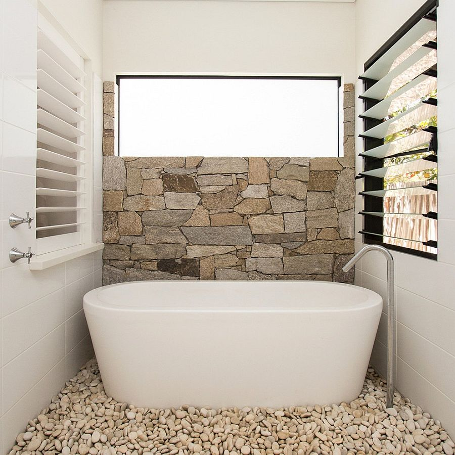 Modern Minimalist Bathroom with Pebbles Decor