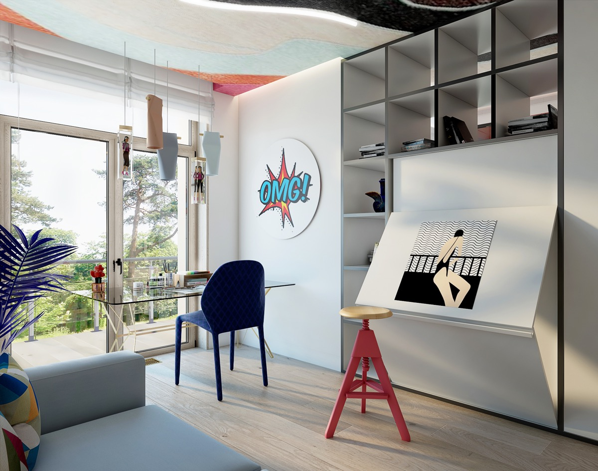 Workspace With Pop Art Decorations