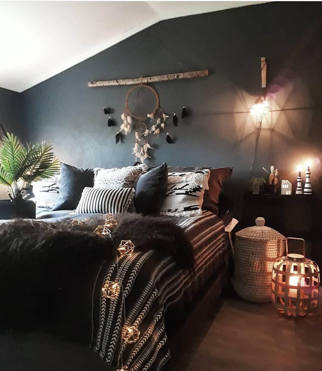 Black Bohemian Bedroom Design