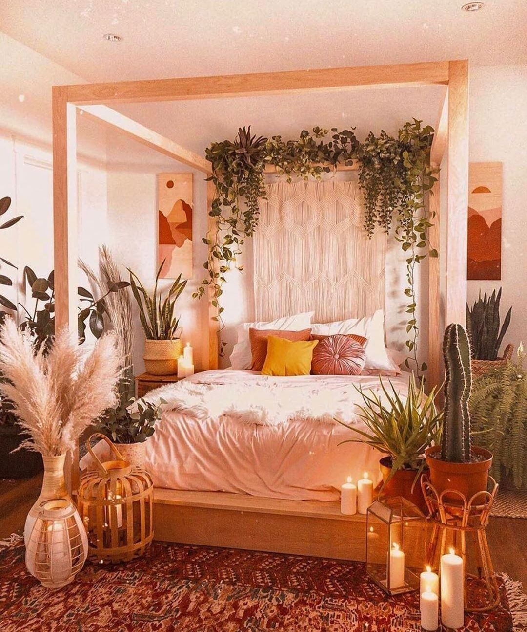Bohemian Bedroom Design with Tropical Style