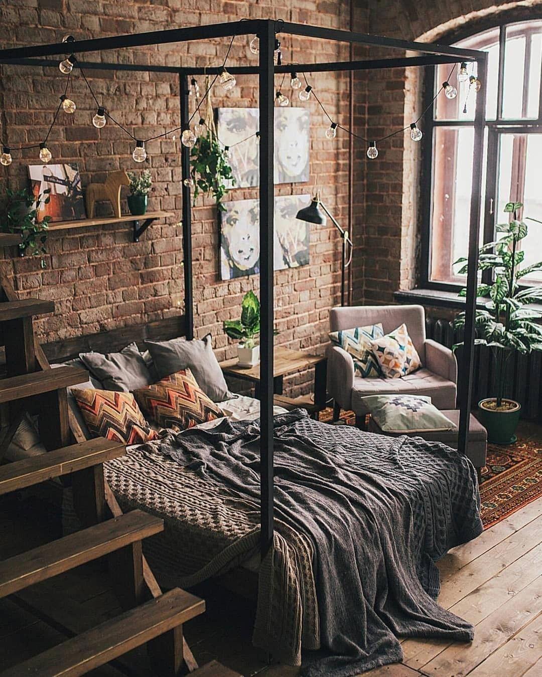 Industrial Bohemian Bedroom Design