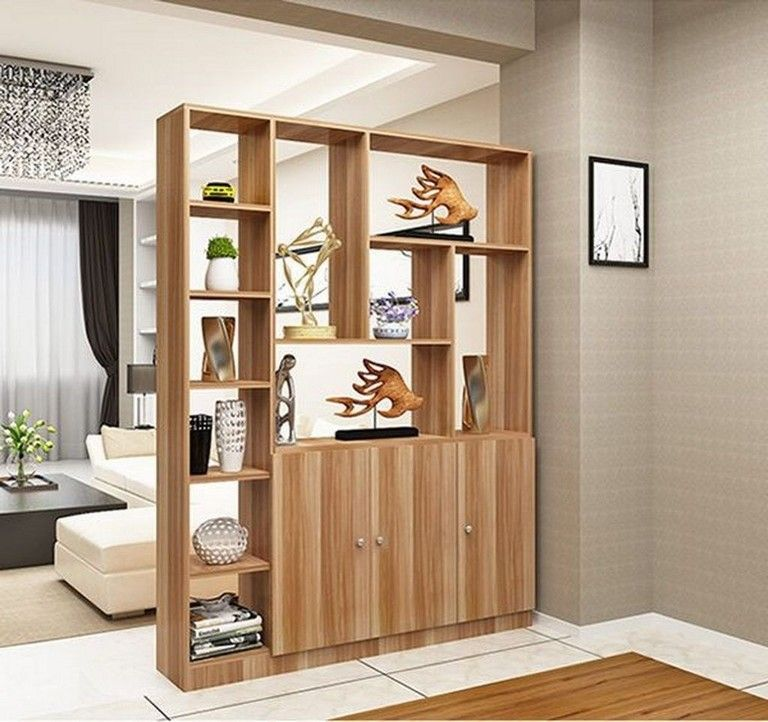 Room Partition With Shelves for Decoration