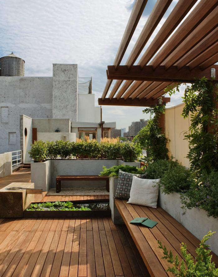 Rooftop Garden With Wooden Floor