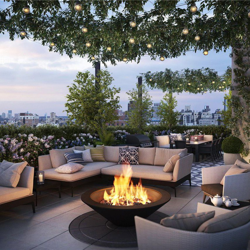 Rooftop Garden With Fireplace