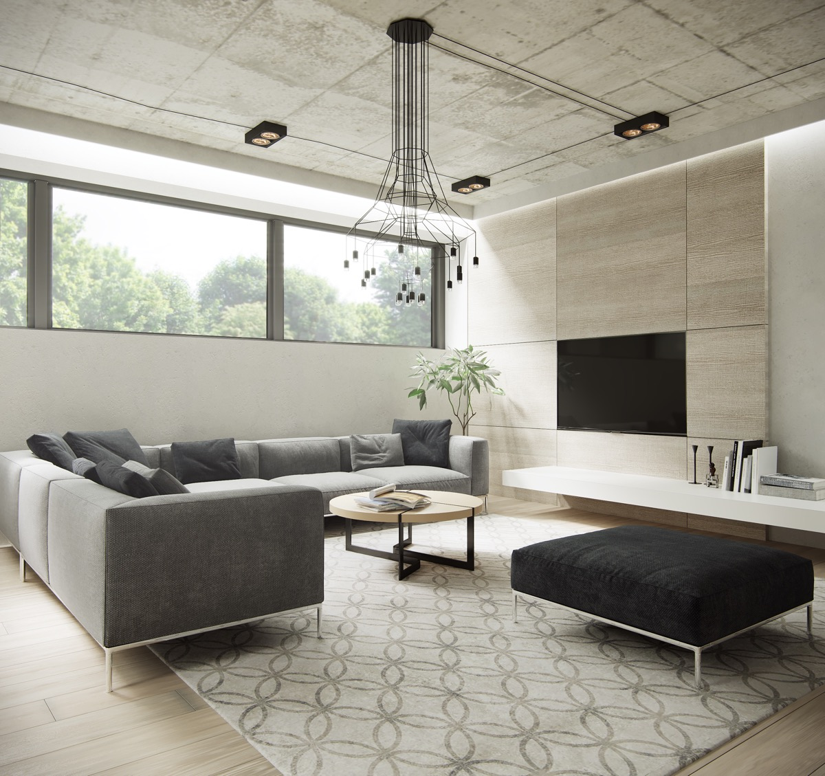Industrial Minimalist Living Room