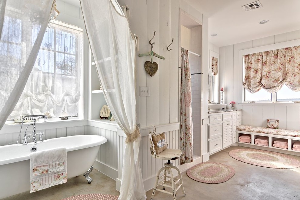 Bathroom with Shabby Chic Interior Design