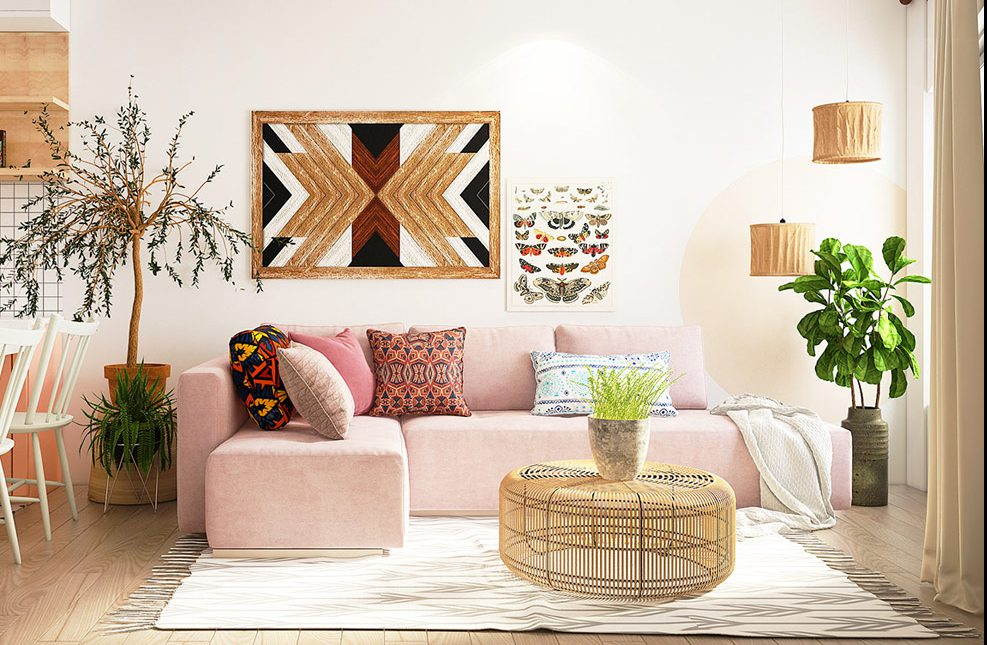 Earth Tone Bohemian Living Room